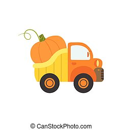 Cute Truck with Giant Pumpkin, Side View, Food Delivery, Shipping of Fresh Garden Vegetables Vector Illustration