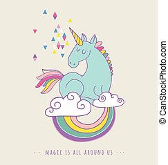 cute, trylleri, plakat, regnbue, hils, unicon, card