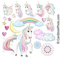 cute, trylleri, samling, enhjørning, regnbue, fairy, vinger