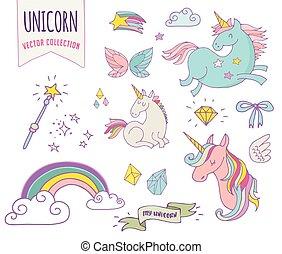 cute, trylleri, unicon, samling, regnbue, fairy, vinger