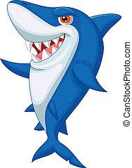 cute, tubarão, caricatura