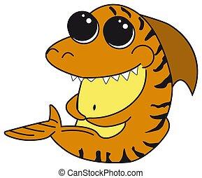 cute, tubarão, poster., ocean., engraçado, roupas, grande, fron, personagem, isolado, saudação, tiger, laranja, copos, shark., mar, impressão, eyes., caricatura, cartão