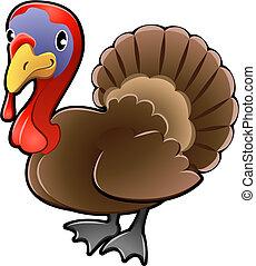 Cute Turkey Farm Animal Vector Illustration