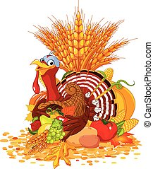 Cute Turkey with ?cornucopia