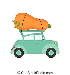 Cute Turquoise Car Delivery Giant Zucchini, Side View, Shipping of Fresh Garden Vegetables Vector Illustration