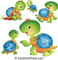Cute turtle cartoon actions