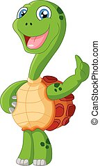 Cute turtle cartoon giving thumb up