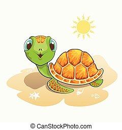 Cute turtle cartoon on the beach
