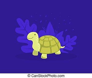 Cute Turtle, Cheerful Tortoise Reptile Animal Cartoon Vector illustration
