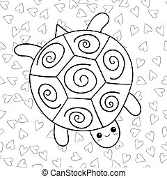 Cute turtle coloring book page.