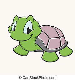 Cute Turtle - Vector illustration of a cutely smiling...