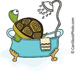 Cute turtle in bathtub with shower