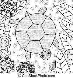 Cute turtle in garden adult coloring book page.