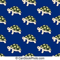 Cute Turtle on Blue Background
