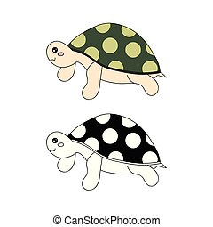 Cute Turtle Vector Illustration.