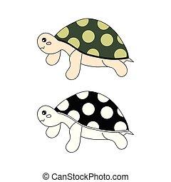 Cute Turtle Vector Illustration.