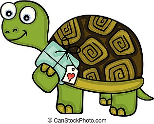 Cute turtle with gift