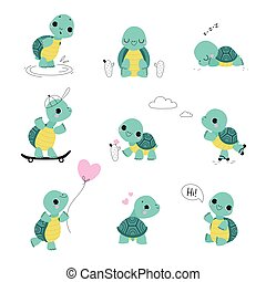 Cute Turtle with Shell and Short Feet Waving Paw, Sleeping and Skateboarding Vector Set