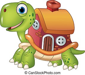 Cute turtle with shell house