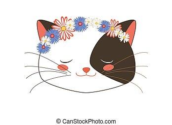 Cute Tuxedo Kitten Sleeping Face with Flowers