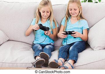 cute, tvillinger, boldspil spille video, sammen