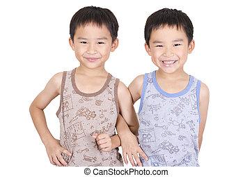 Cute twin smiling