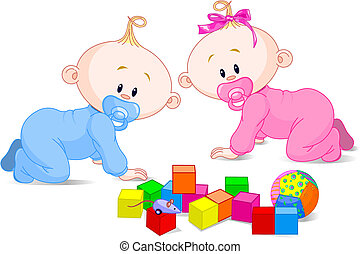 Cute twins - Toddlers babes-twins (boy and girl) and the...
