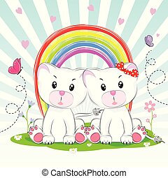 Cute two lovely cats sit on the background rainbow