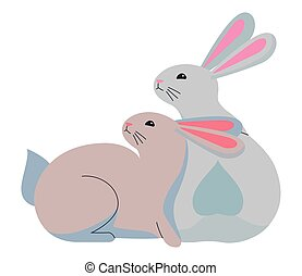 Cute two rabbits animals cartoons