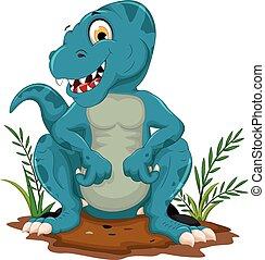 cute, tyrannosaurus, caricatura, sentando