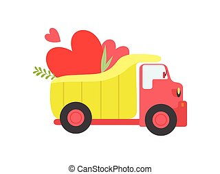 Cute ul Truck with Hearts, Side View Vector Illustration