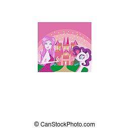 Cute unicorn and fairy