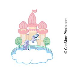 Cute unicorn and fairy-tale princess castle