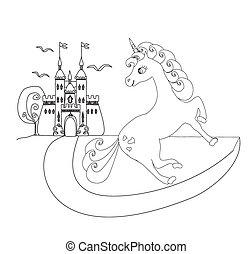 cute unicorn and fairy-tale princess castle