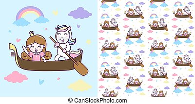 Cute Unicorn and Princess ride a boat with seamless pattern Illustration.