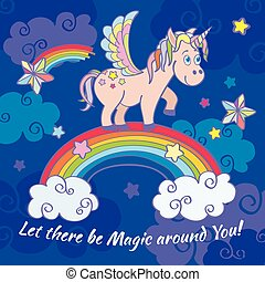 Cute unicorn and rainbow fairy vector background, poster, greeting card