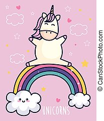 cute unicorn and rainbow with clouds kawaii style