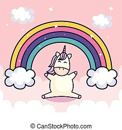 cute unicorn and rainbow with clouds