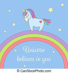 Cute unicorn and rainbow with stars greeting card. Magical unicorn vector illustration poster.
