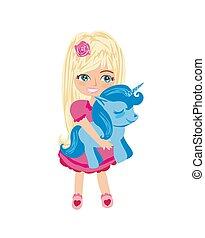 cute unicorn and sweet girl