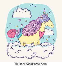 cute unicorn animal in the clouds with hearts
