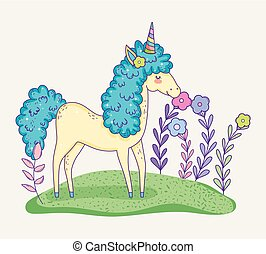 cute unicorn animal with flowers plants