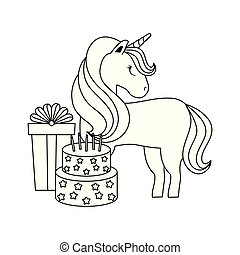 cute unicorn animal with gift box and cake of birthday