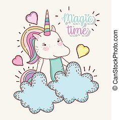 cute unicorn animal with hearts in the clouds