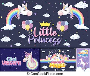 Sweet dreams logo with cute unicorn head on purple ...