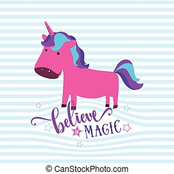 Cute unicorn. Believe in magic typography concept. Striped background