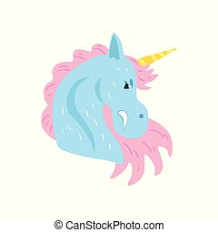 Cute unicorn character cartoon vector Illustration on a white background