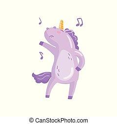 Cute unicorn character dancing, funny magical animal cartoon...