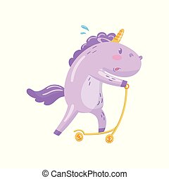 Cute unicorn character riding kick scooter, funny magical...