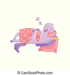 Cute unicorn character sleeping on its bed, funny magical...